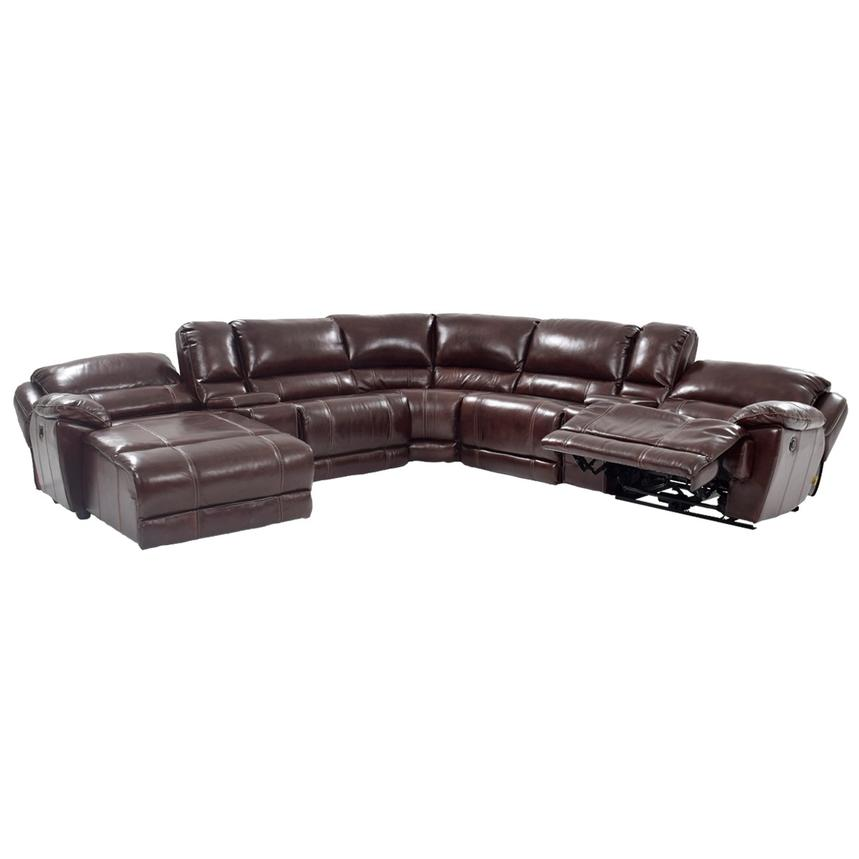 Theodore Brown Power Motion Leather Sofa W Left Chaise