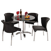 Gerald Black 5-Piece Patio Set w/10mm Glass Top  main image, 1 of 12 images.