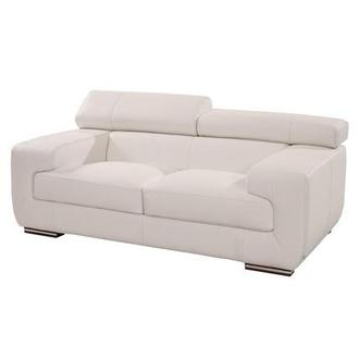 Grace White Leather Loveseat