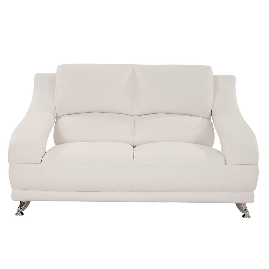 Jedda White Leather Loveseat  alternate image, 2 of 5 images.