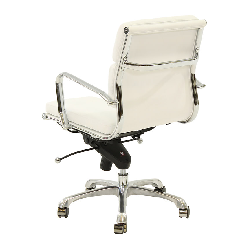 Marconi White Low Back Desk Chair  alternate image, 3 of 6 images.
