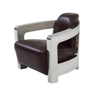 Aviator Brown Leather Accent Chair