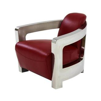 Nice Aviator Red Leather Accent Chair