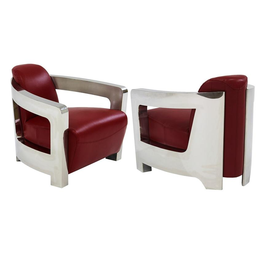 Aviator Red Leather Accent Chair Alternate Image 3 Of 6 Images