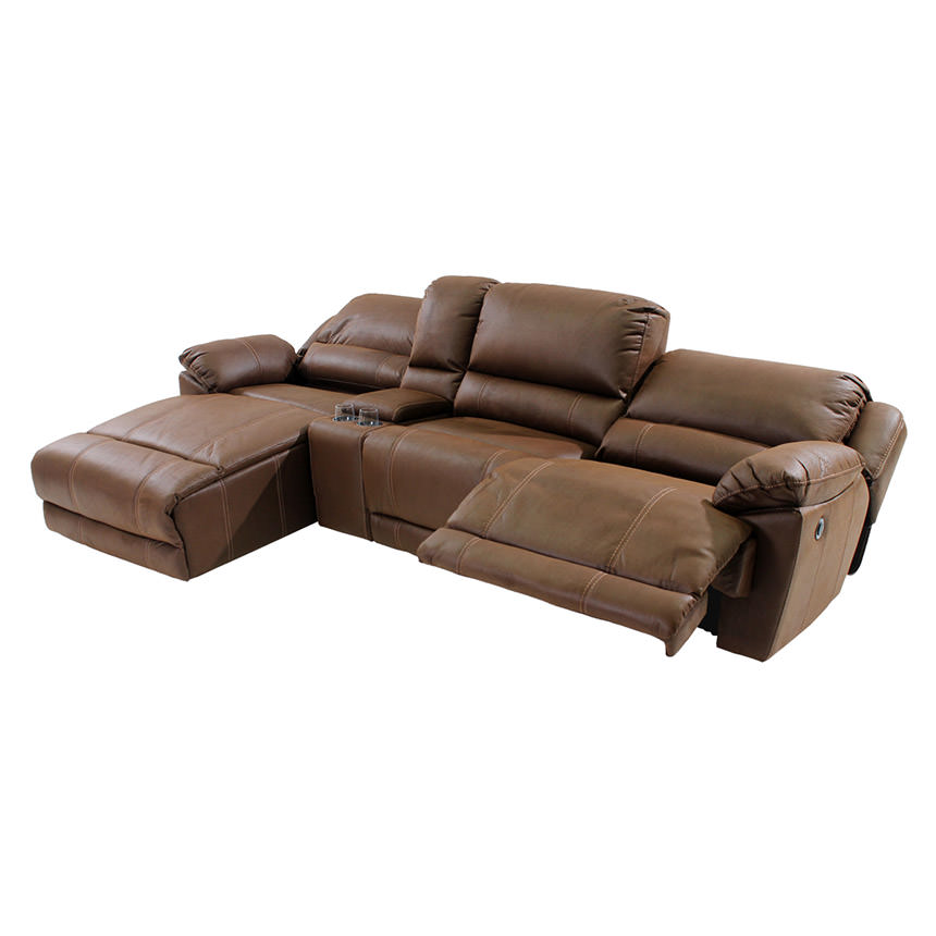 Augusto Chocolate Power Motion Sofa w/Left Chaise  alternate image, 2 of 10 images.
