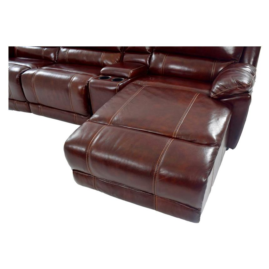 Theodore Burgundy Power Motion Leather Sofa W Right Chaise