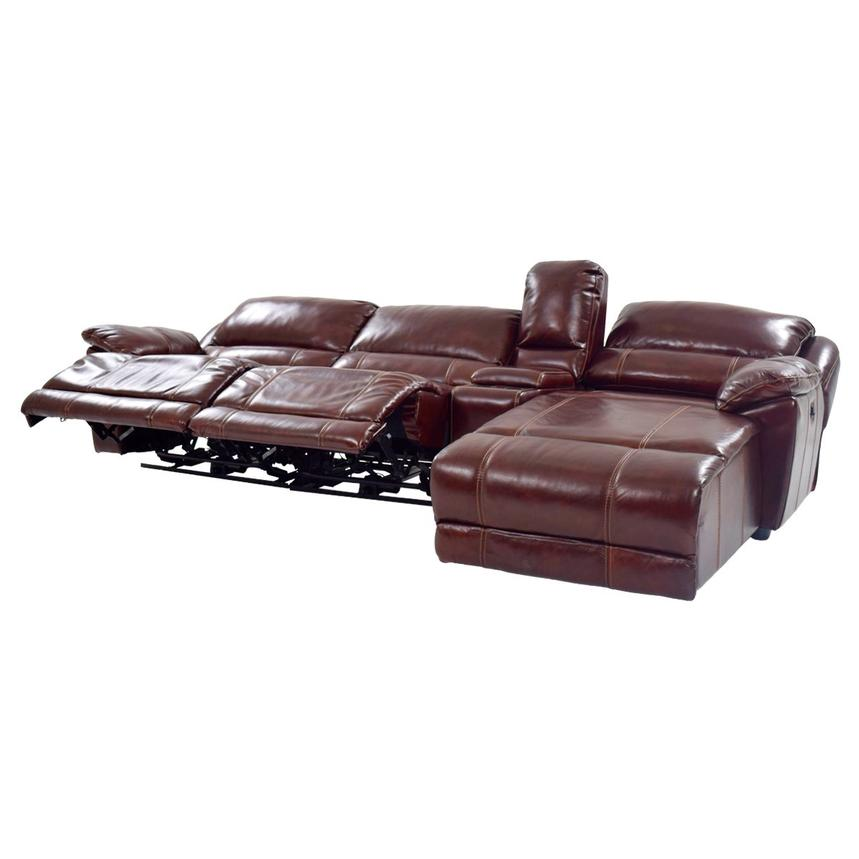 Theodore Burgundy Power Motion Leather Sofa w/Right Chaise  alternate image, 2 of 9 images.