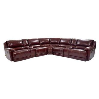 Theodore Burgundy Power Motion Leather Sofa w/Right & Left Recliners