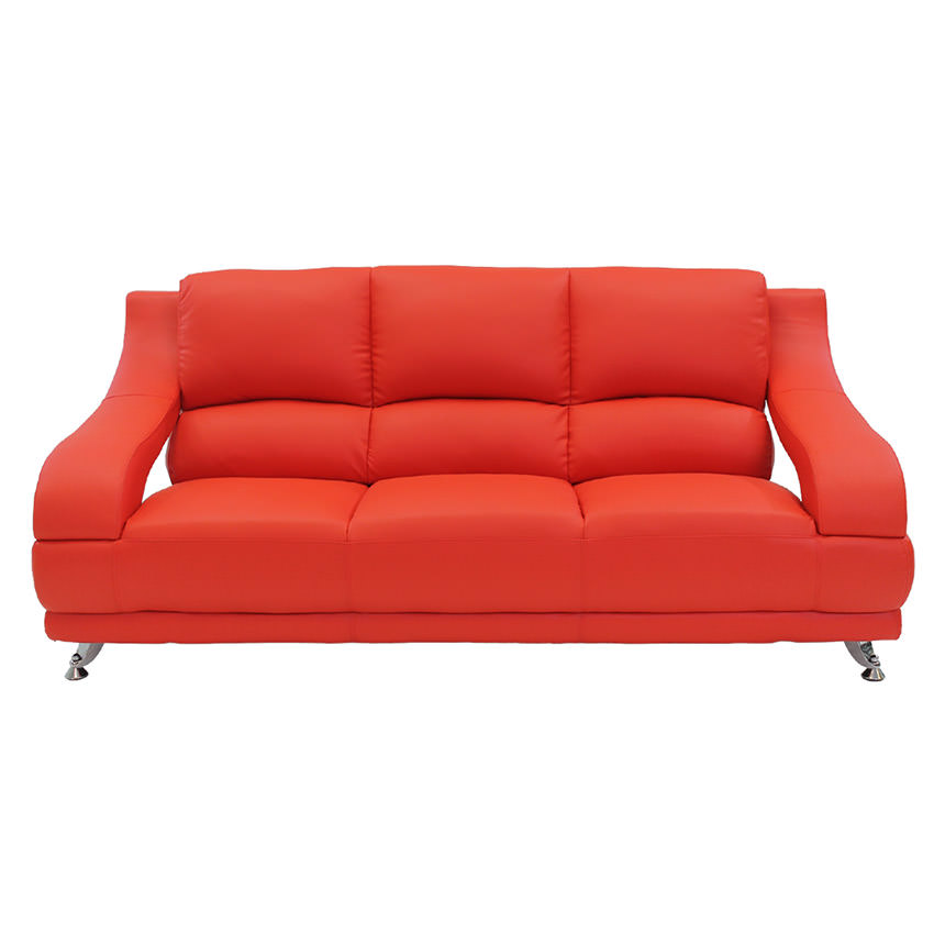 Jedda Red Leather Sofa Alternate Image 2 Of 5 Images