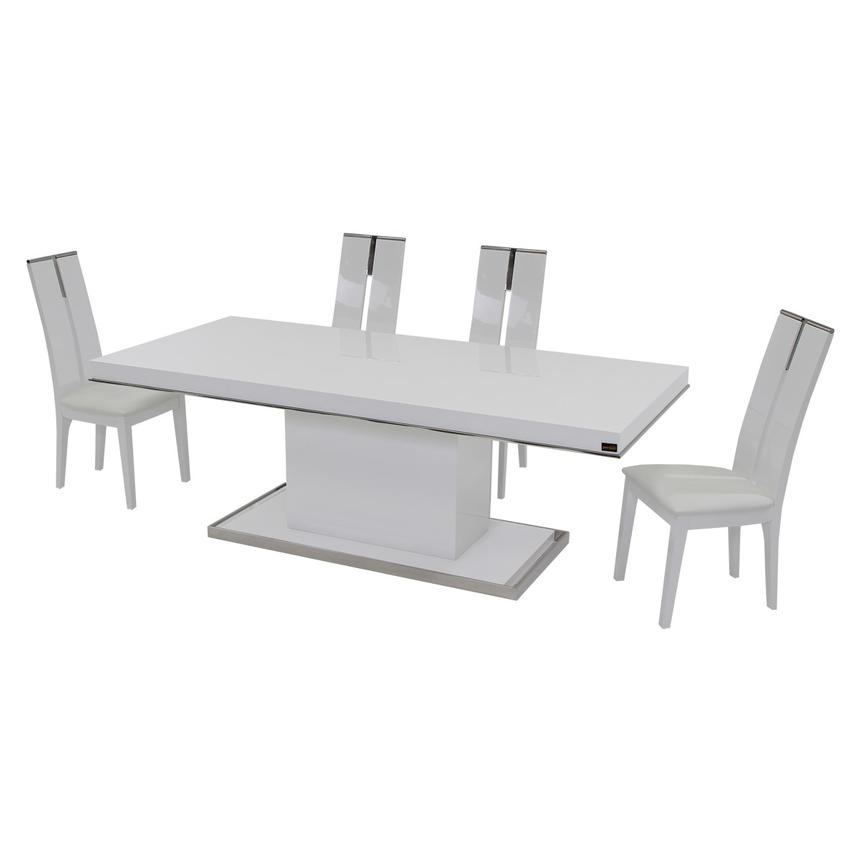 Cecilia/Avanti White 5-Piece Formal Dining Set  alternate image, 3 of 10 images.