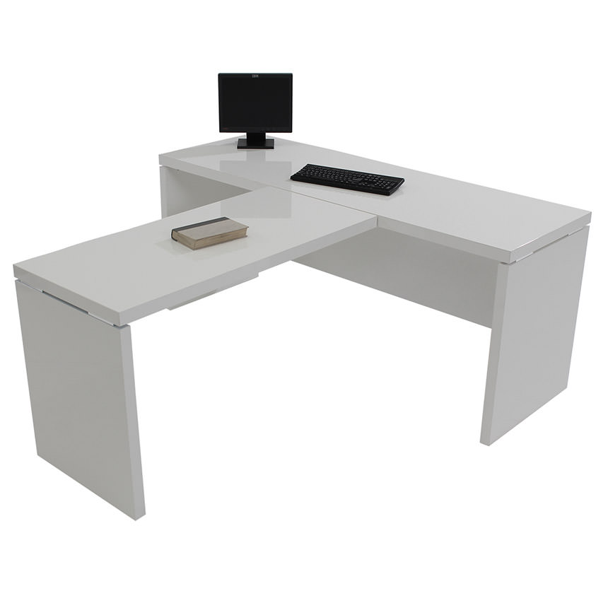 Sedona White L-Shaped Desk Made in Italy  alternate image, 3 of 6 images.