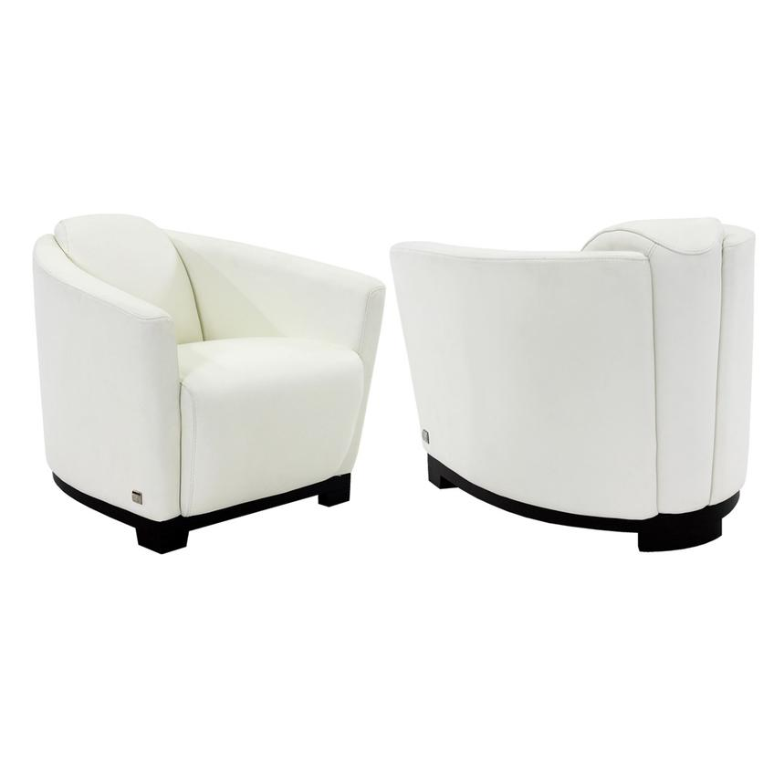 Fellini White Leather Accent Chair  alternate image, 3 of 7 images.