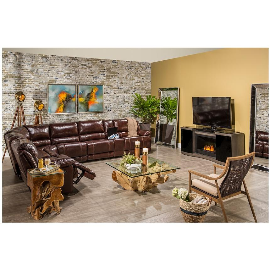 Theodore Burgundy Power Motion Leather Sofa w/Right & Left Recliners  alternate image, 2 of 8 images.