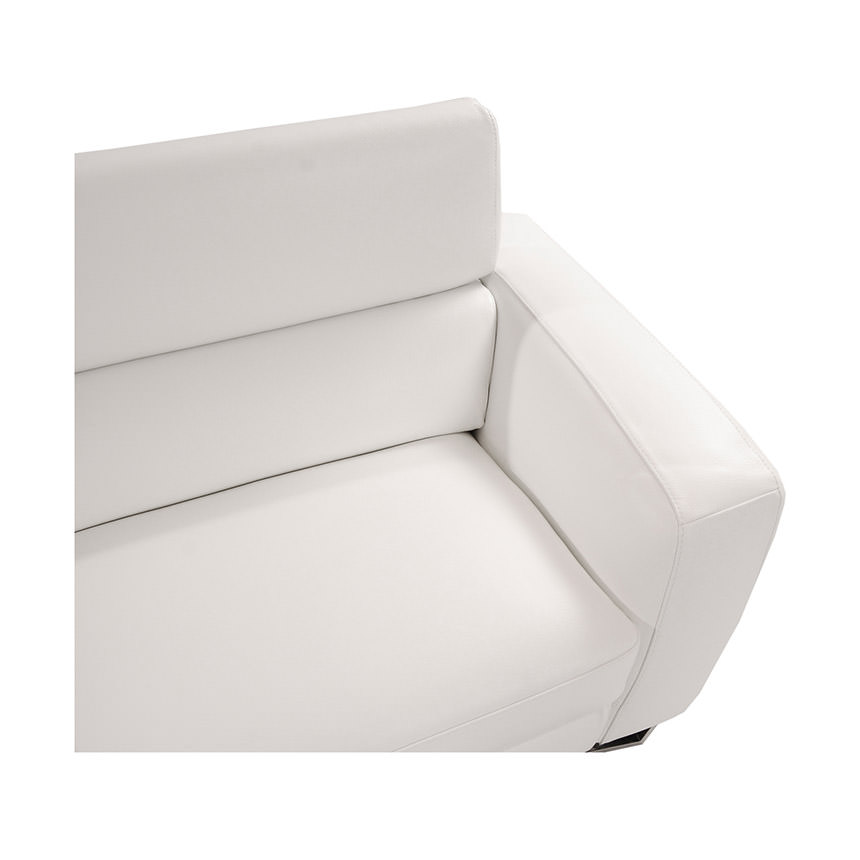 Sparta White Leather Sofa w/Left Chaise  alternate image, 3 of 5 images.