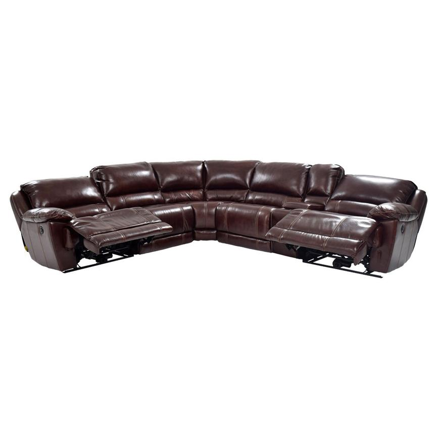Theodore Brown Motion Leather Sofa W Right Left Recliners Alternate Image 2