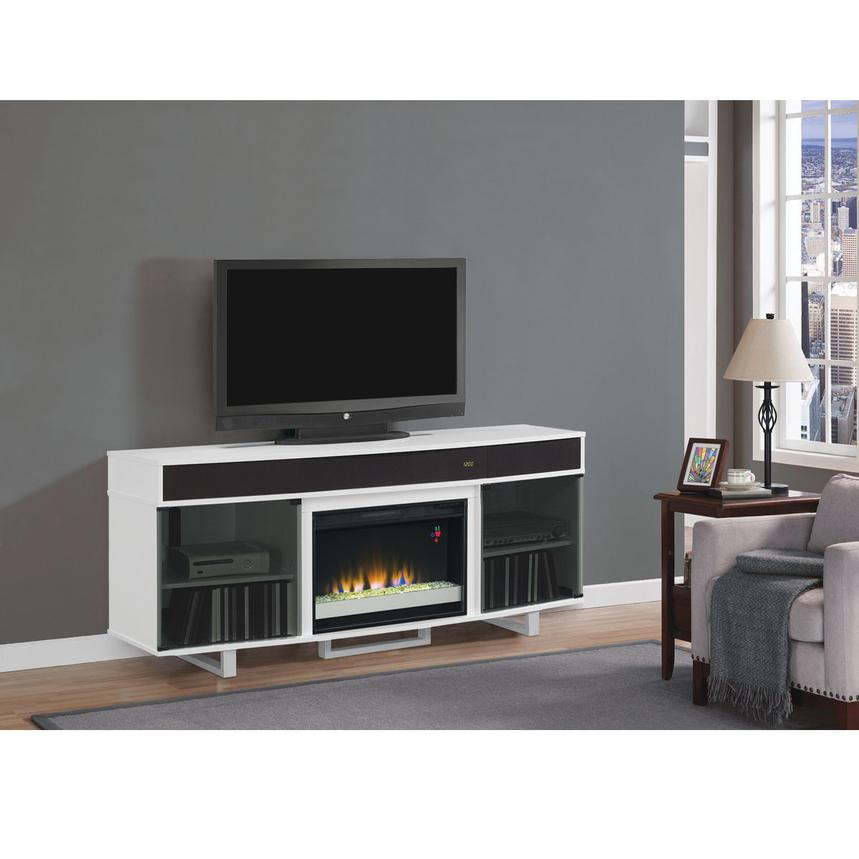 Enterprise White Faux Fireplace w/Speakers  alternate image, 2 of 7 images.