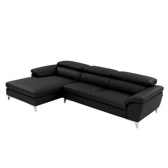 Costa Black Sofa w/Left Chaise