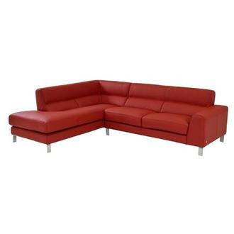 Simon Red Leather Sofa W/Left Chaise