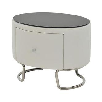 Kolosko White Nightstand w/Glass Top