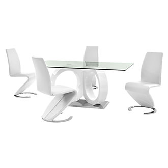 Stop 36 White 5-Piece Formal Dining Set