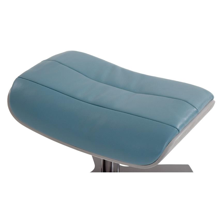 Enzo Blue Leather Ottoman  alternate image, 3 of 5 images.
