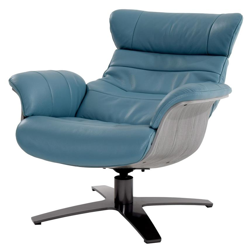 Enzo Blue Leather Swivel Chair Alternate Image, 3 Of 11 Images.