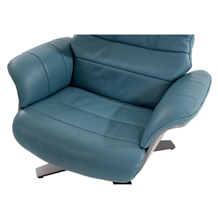 Enzo Blue Leather Swivel Chair  alternate image, 8 of 10 images.