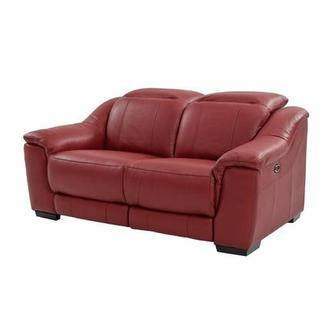 Davis Red Power Motion Leather Loveseat