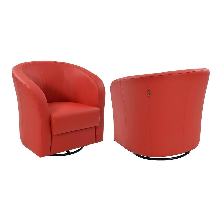 Delia Red Swivel Accent Chair  alternate image, 2 of 6 images.