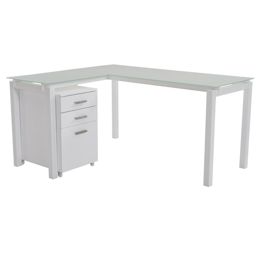 Soni L Shaped Desk W File Cabinet Main Image 1 Of 13 Images