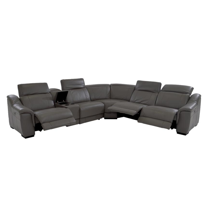 Davis Gray Power Motion Leather Sofa w/Right & Left Recliners  alternate image, 2 of 11 images.