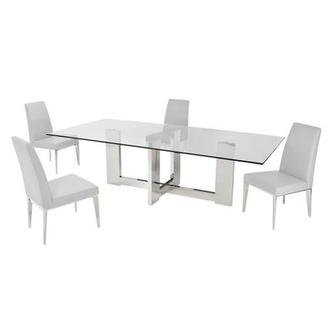 Opus White 5-Piece Formal Dining Set