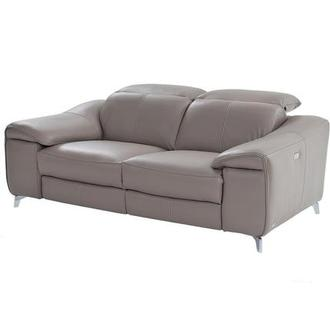 Gaspy Gray Power Motion Leather Sofa