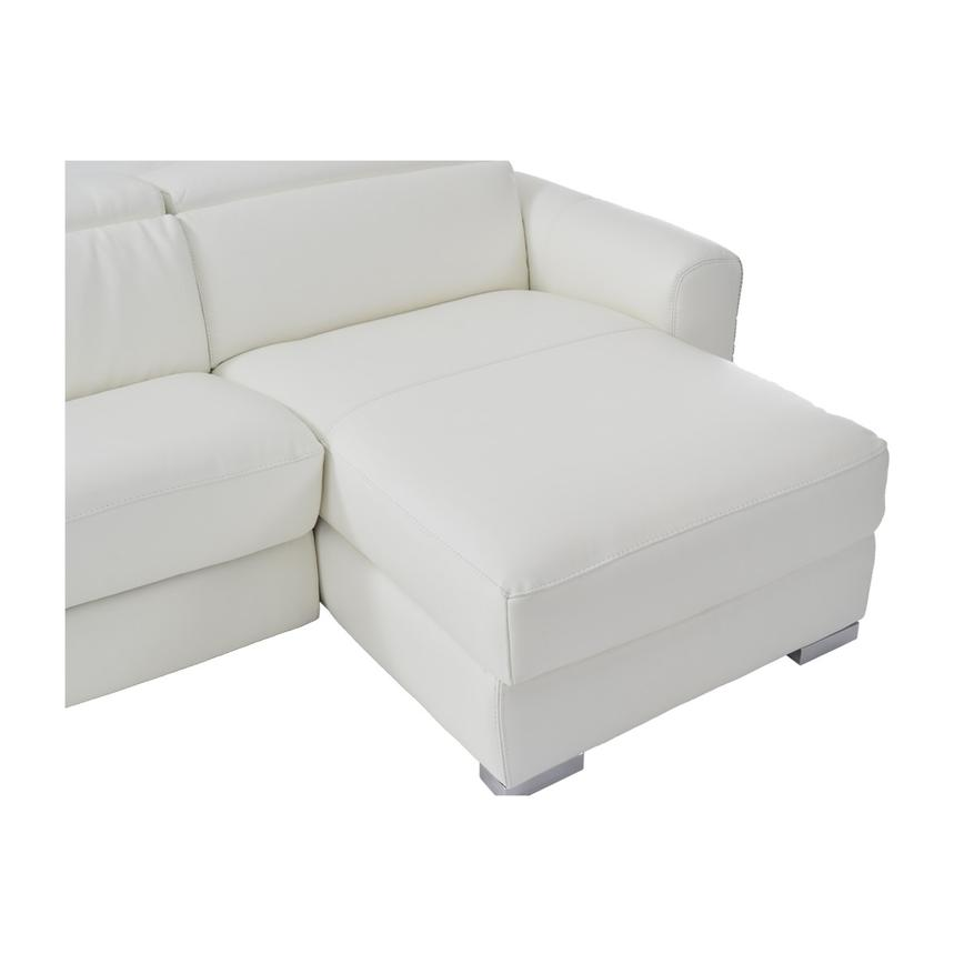 Bay Harbor White Leather Sleeper w/Storage  alternate image, 8 of 9 images.