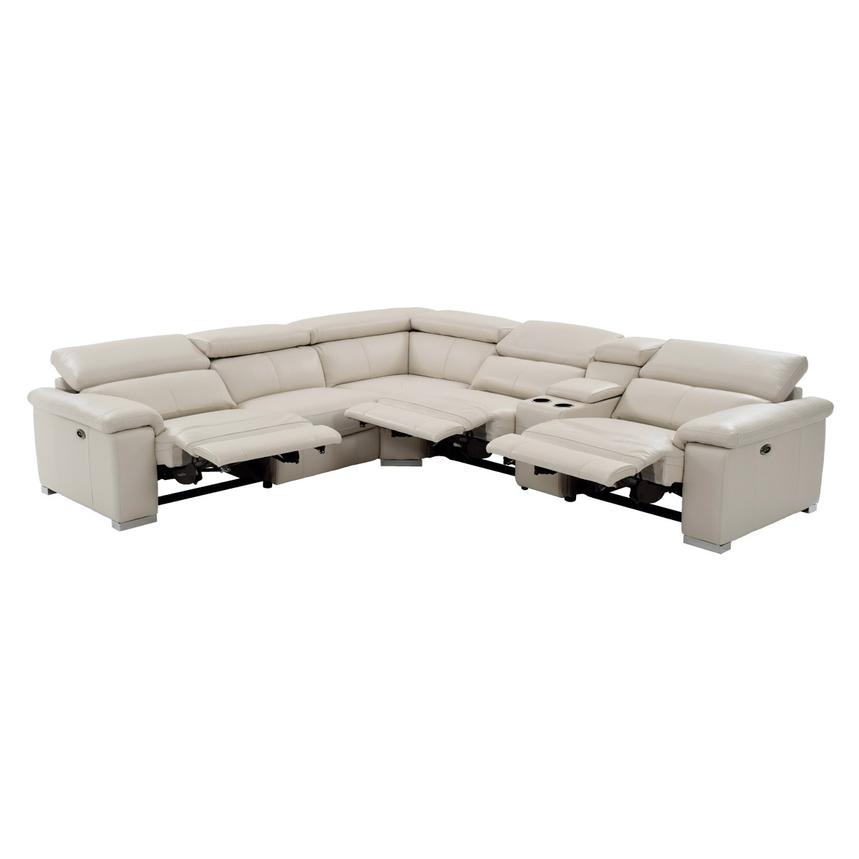 Nathan Cream Power Motion Leather Sofa W/Console Alternate Image, 2 Of 12  Images