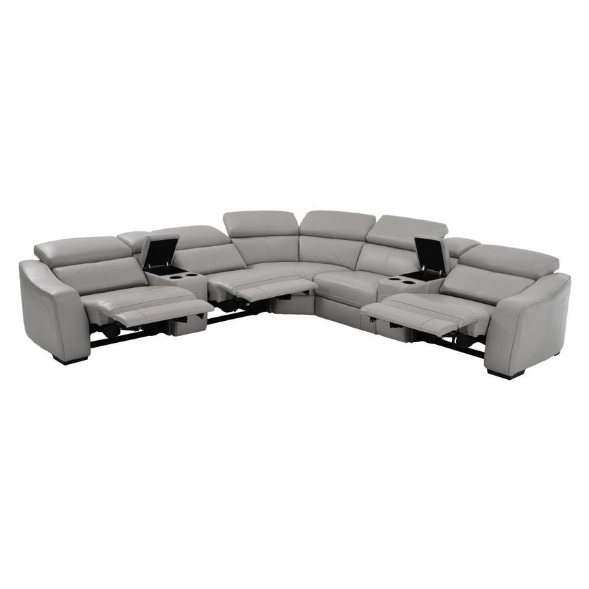James Gray Motion Leather Sofa W Right Left Recliners Alternate Image 2