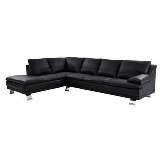 Rio Black Leather Sofa w/Left Chaise