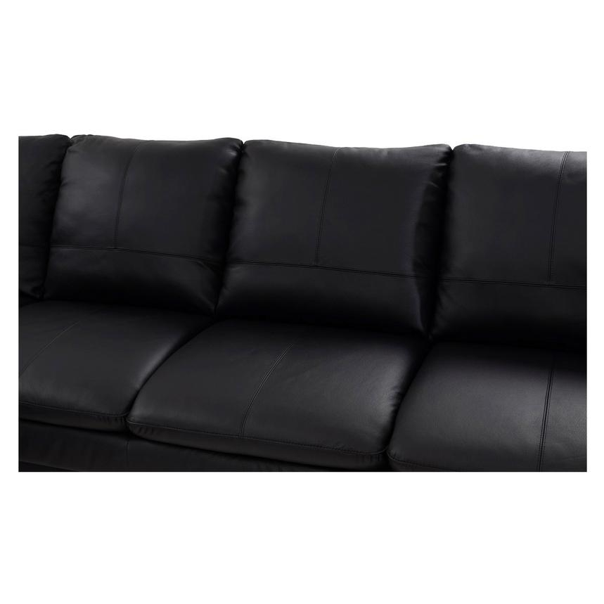 Rio Black Leather Sofa w/Left Chaise  alternate image, 3 of 8 images.