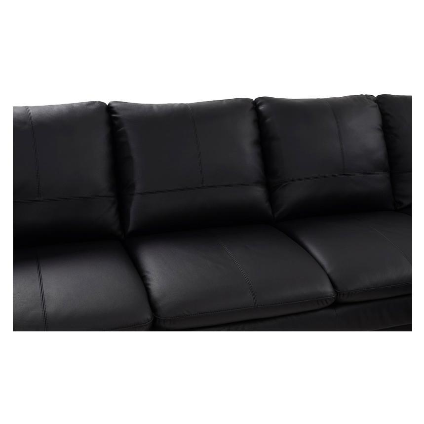 Rio Black Leather Sofa w/Right Chaise  alternate image, 3 of 8 images.