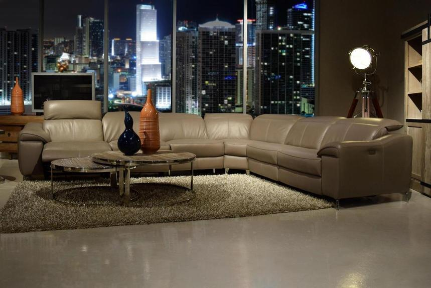 Gaspy Gray Power Motion Leather Sofa w/Right & Left Recliners  alternate image, 2 of 11 images.
