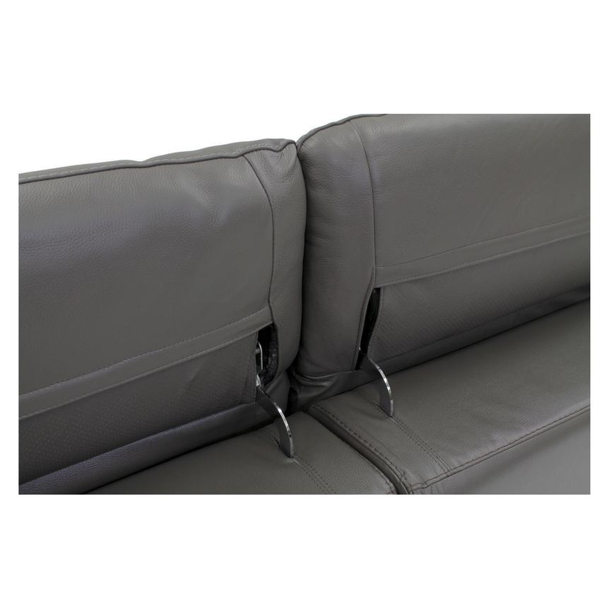 Davis Gray Power Motion Leather Sofa w/Right & Left Recliners  alternate image, 7 of 9 images.