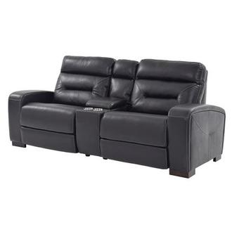 Rochester Black Power Motion Leather Sofa w/Console