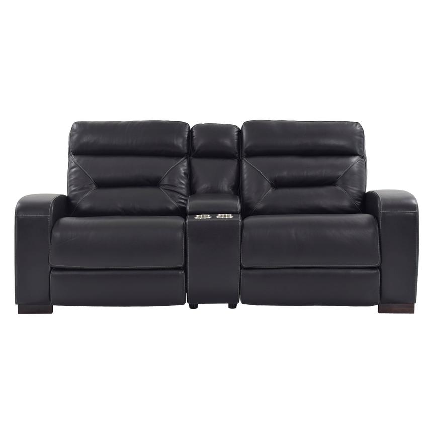 Rochester Black Power Motion Leather Sofa w/Console  alternate image, 3 of 10 images.