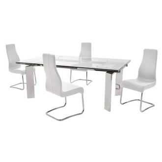 Cleo White 5-Piece Formal Dining Set