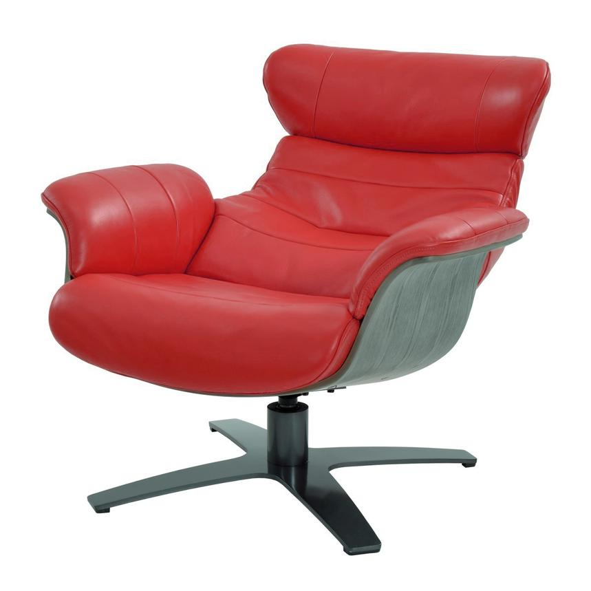 Enzo Red Leather Swivel Chair  alternate image, 2 of 9 images.