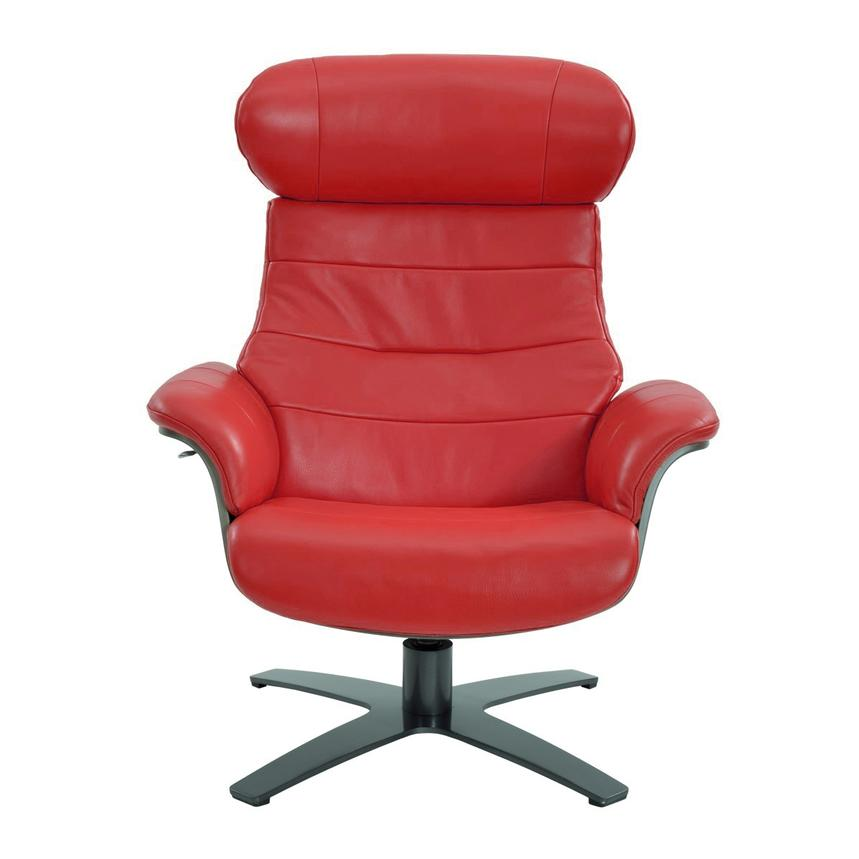 Enzo Red Leather Swivel Chair  alternate image, 3 of 10 images.