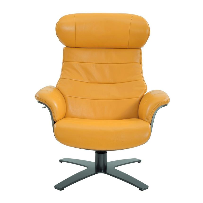 Enzo Yellow Leather Swivel Chair  alternate image, 3 of 10 images.
