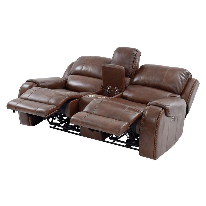 Durham Power Motion Leather Sofa W Console El Dorado