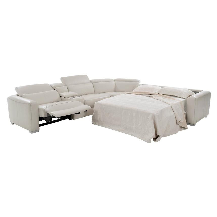 Bay Harbor Cream Power Motion Leather Sofa w/Right Sleeper  alternate image, 2 of 8 images.