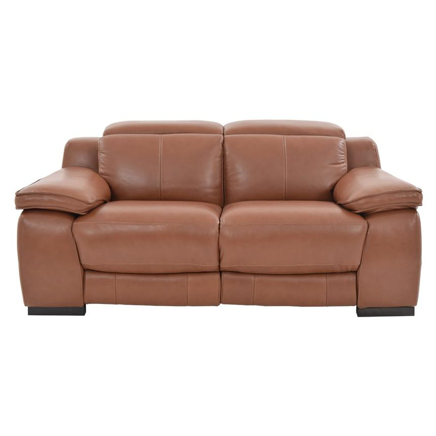 Gian Marco Tan Power Motion Leather Loveseat  alternate image, 3 of 9 images.